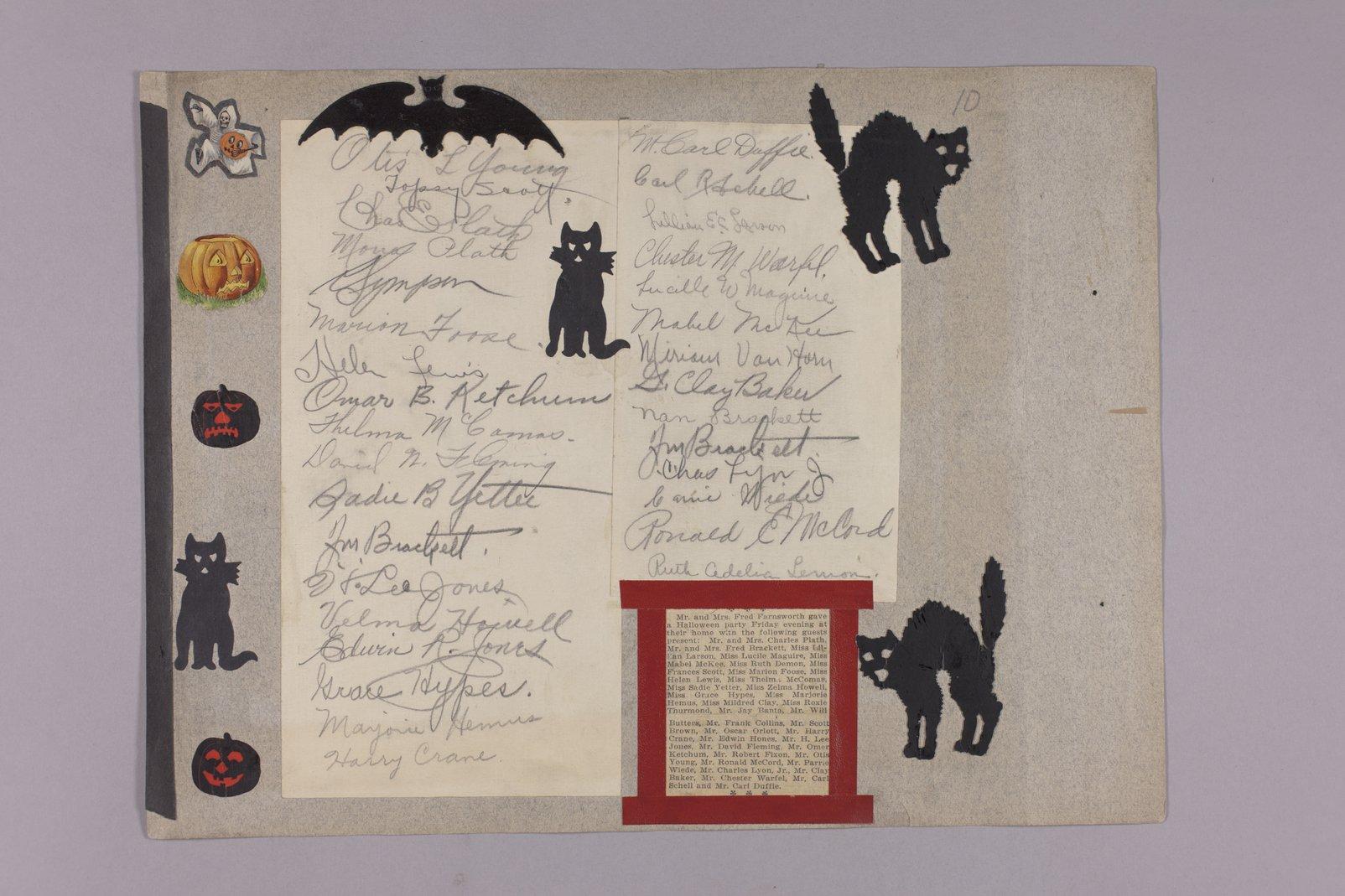 Martha Farnsworth scrapbook #4 - Newspaper article: Halloween party , Martha & Fred