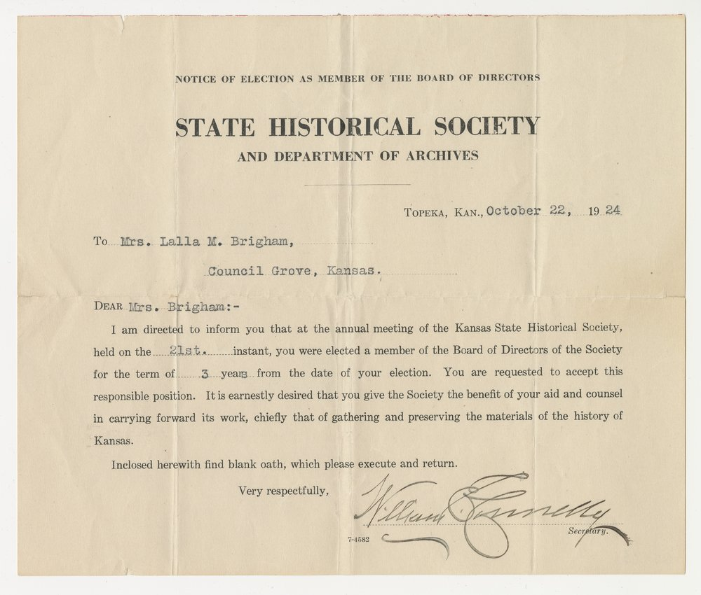 Certificate of Election for the Kansas State Historical Society