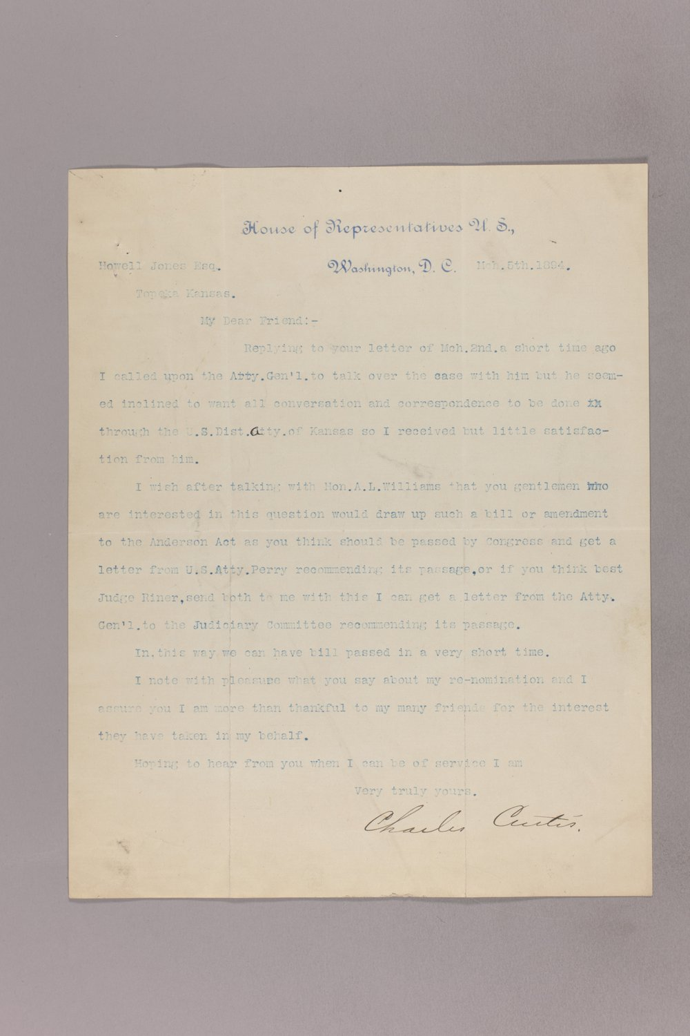 Charles Curits correspondence, 1894 - 1 March 05, 1894
