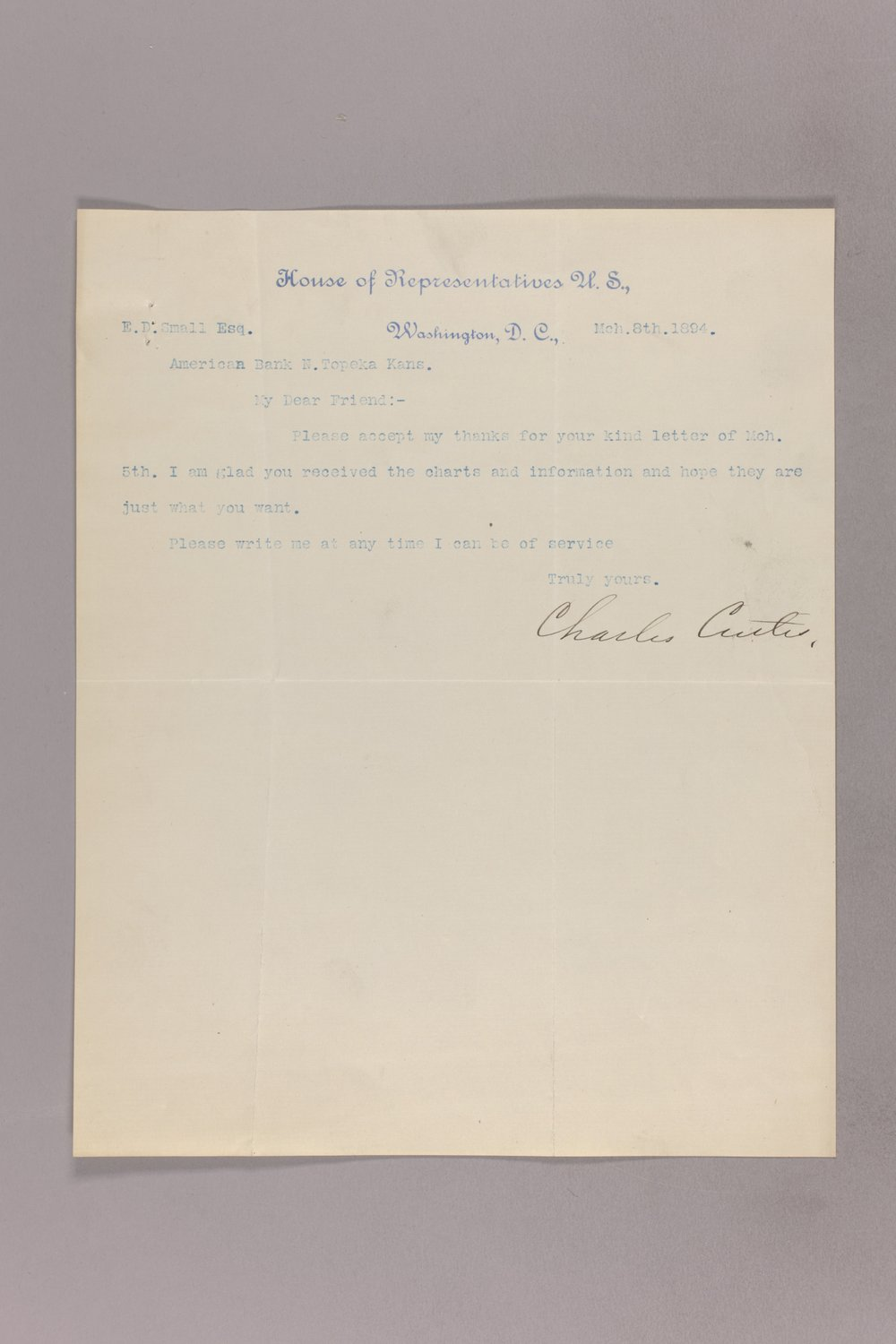 Charles Curits correspondence, 1894 - 2 March 08, 1894