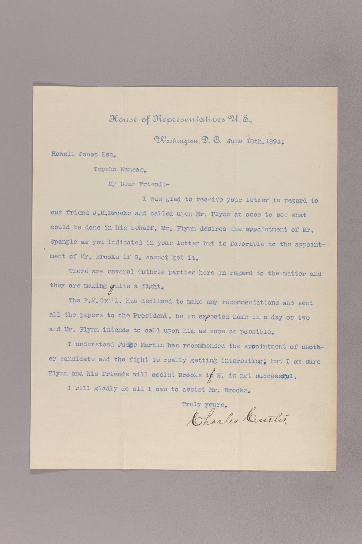 Charles Curits correspondence, 1894 - 10 June 18, 1894