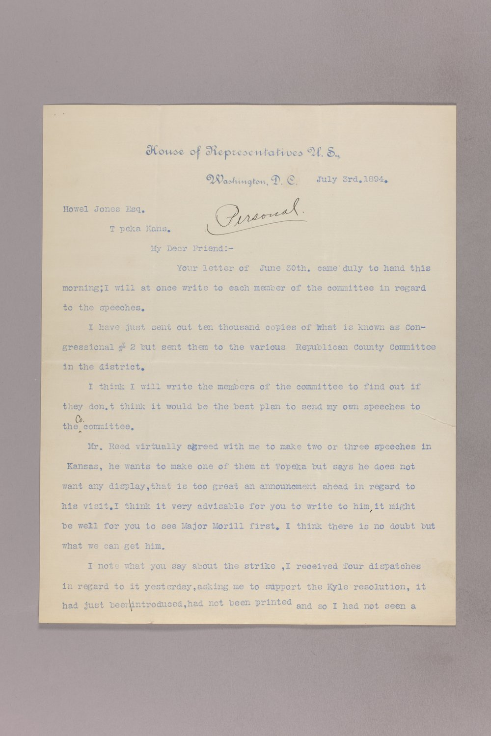Charles Curits correspondence, 1894 - 12 July 03, 1894