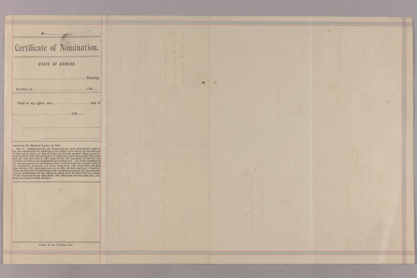 Charles Curits correspondence, 1894 - 31 Certificate of Nomination Distsrict Offices