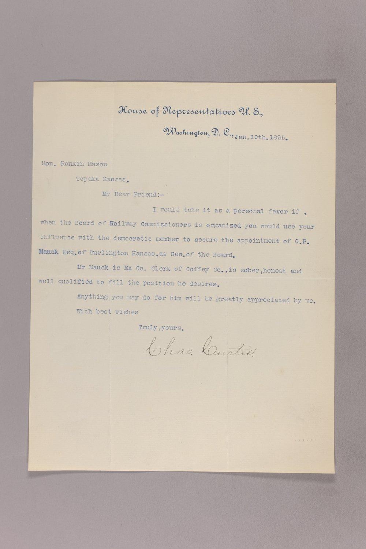 Charles Curtis correspondence, 1895-1896 - 2 January 10, 1895