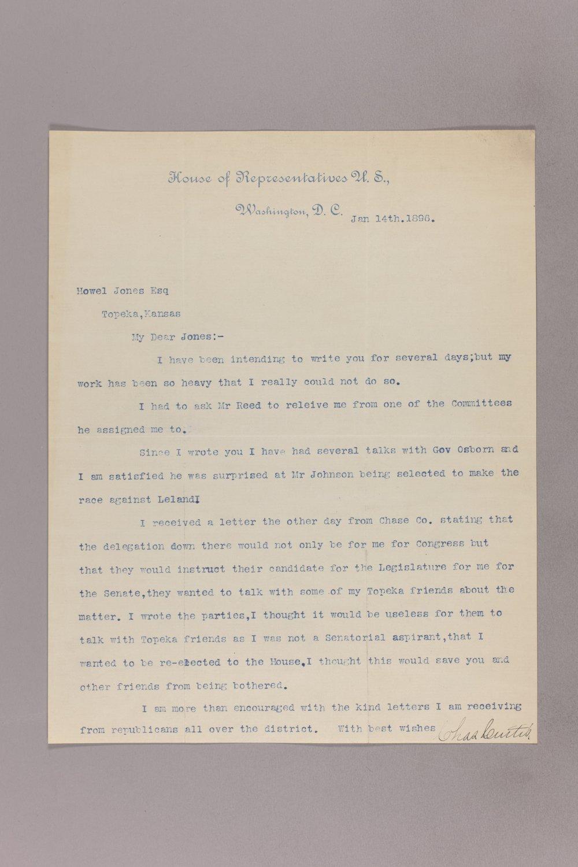 Charles Curtis correspondence, 1895-1896 - 6 January 14, 1896