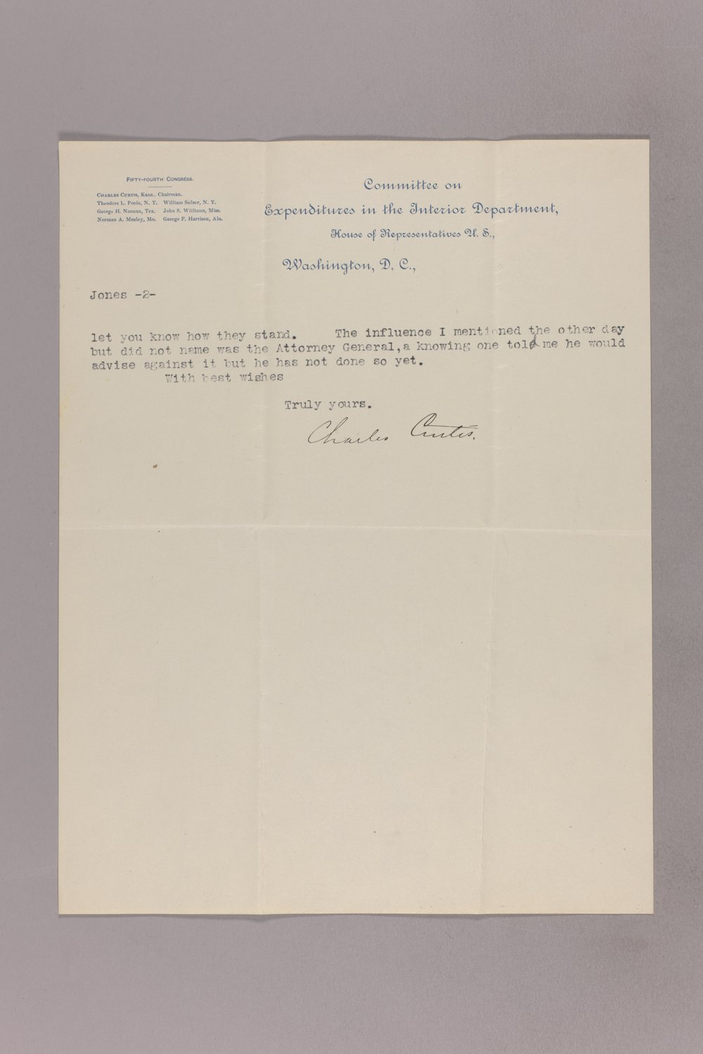 Charles Curtis correspondence, 1895-1896 - 10 March 04, 1896