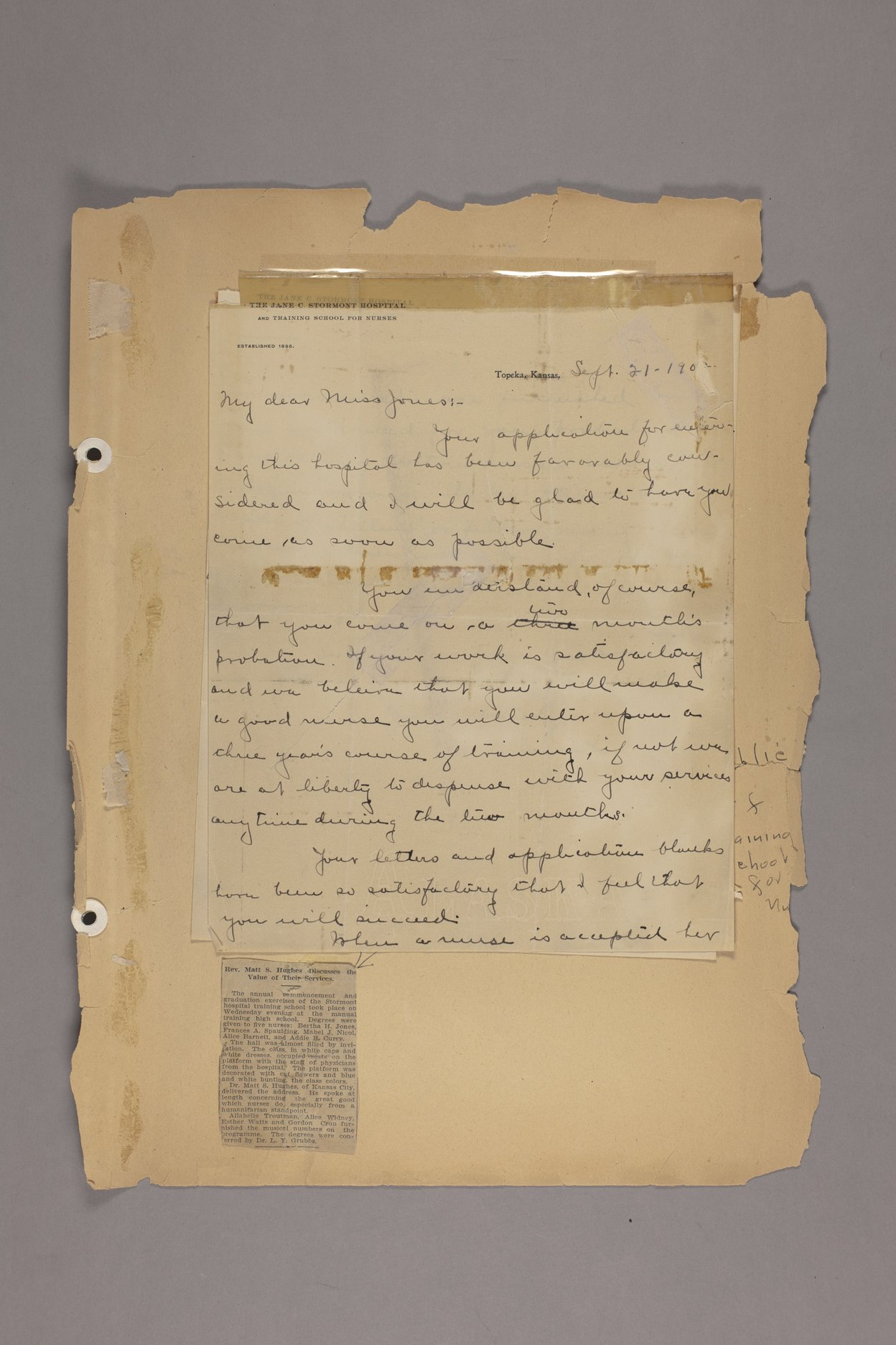 Bertha Jones scrapbook - 3 Letter: September 21, 1902