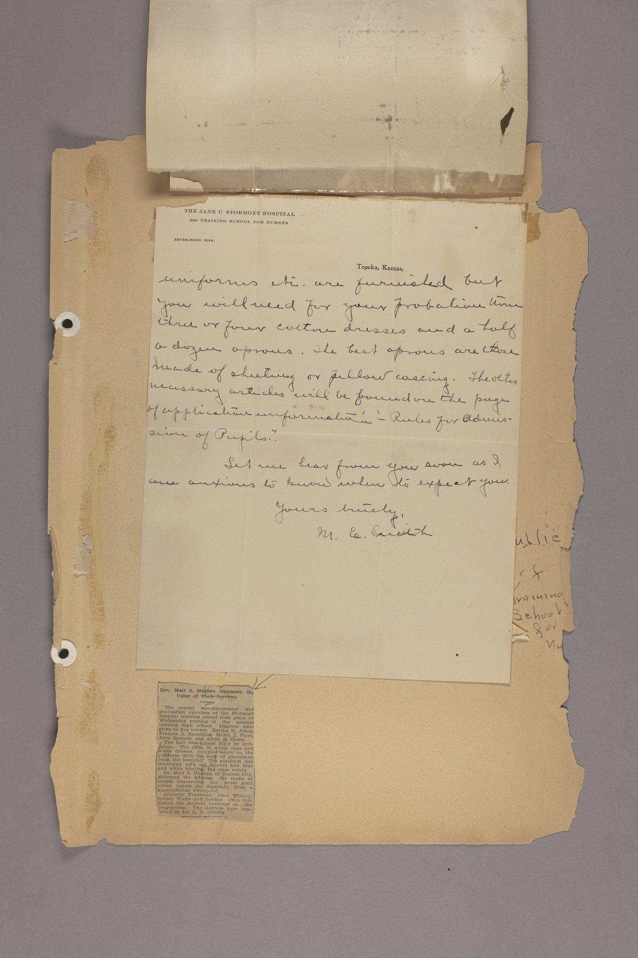 Bertha Jones scrapbook - 4 Letter: September 21, 1902