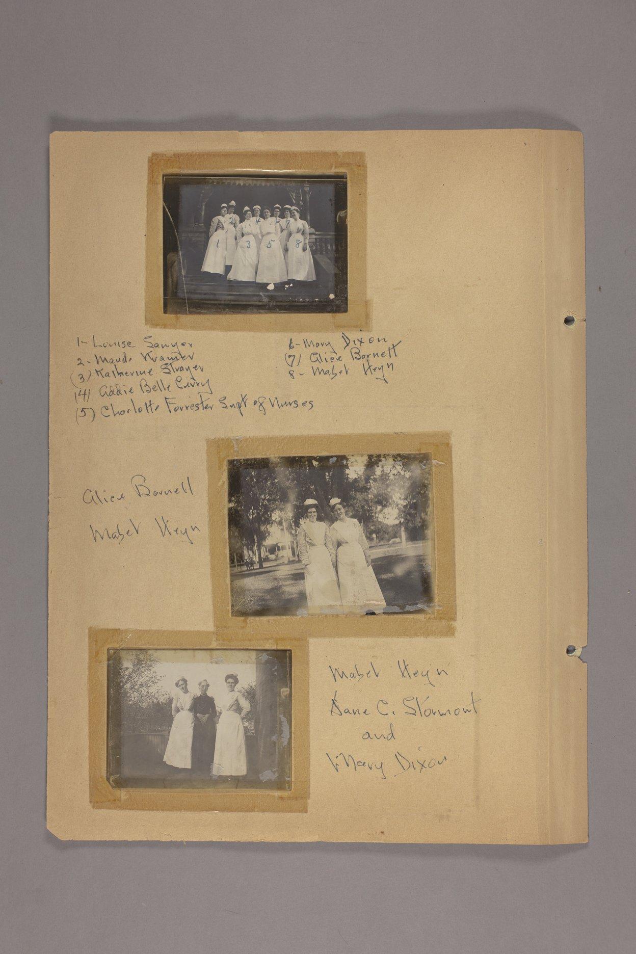 Bertha Jones scrapbook - 7 Photographs: nurses