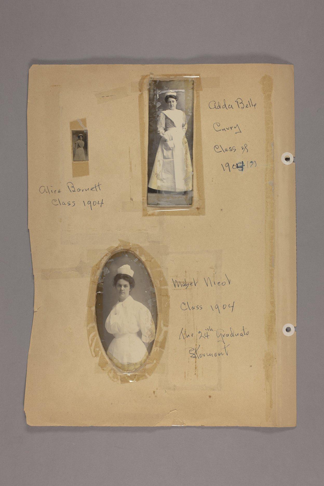Bertha Jones scrapbook - 9 Photographs: Barnett, Cuvry, Nieol