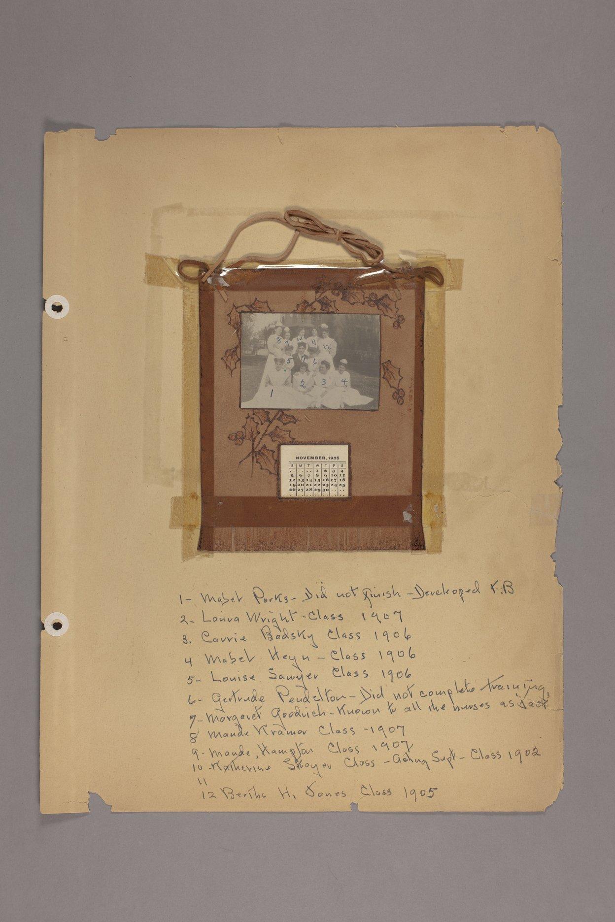 Bertha Jones scrapbook - 12 List: nursing students, 1905-1907