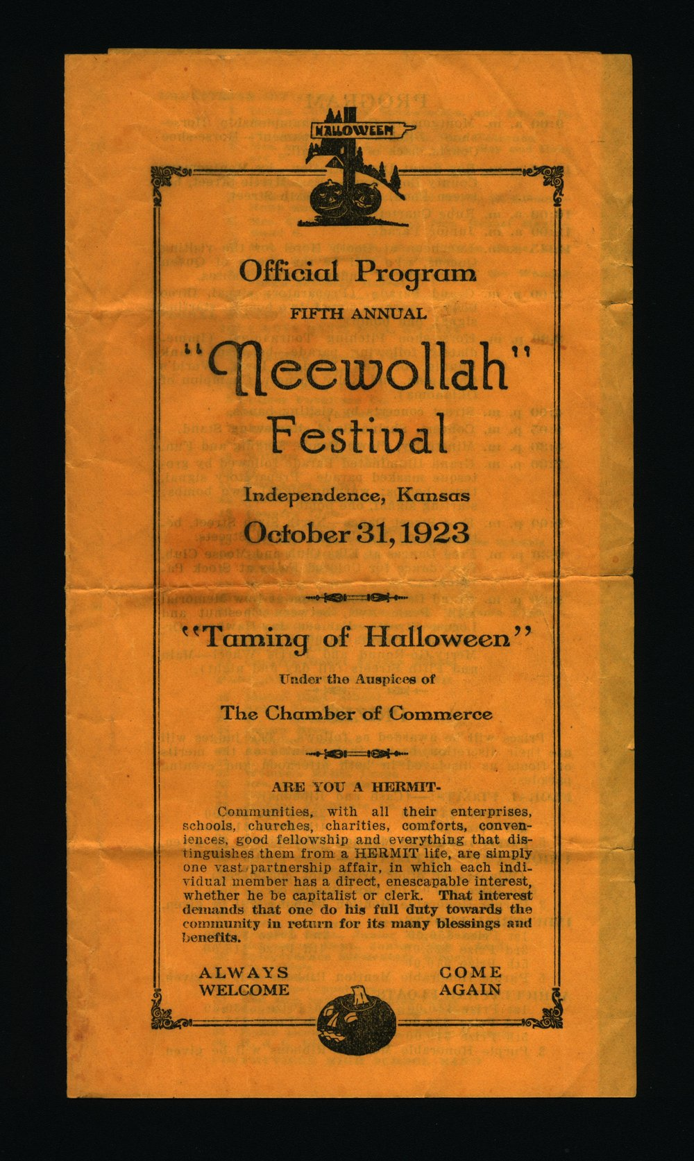 Fifth Annual Neewollah Festival: Taming of Halloween - Cover