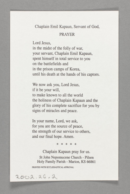 Father Kapaun prayer card - Back