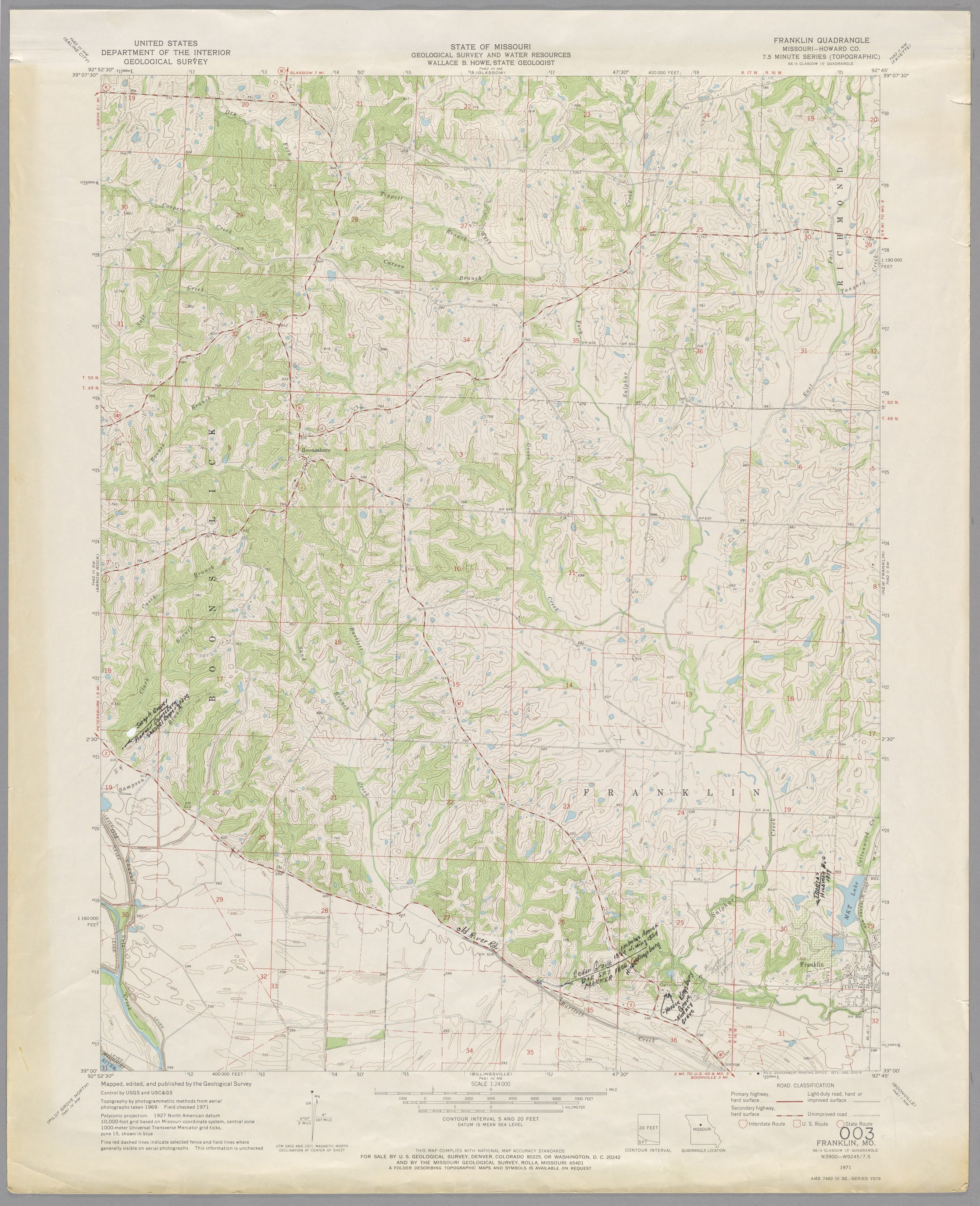 Kroh Collection. Group 1: Santa Fe Trail - Map 003: Franklin quadrangle, showing the early (1820s-1840s) route of the Santa Fe Trail in Missouri