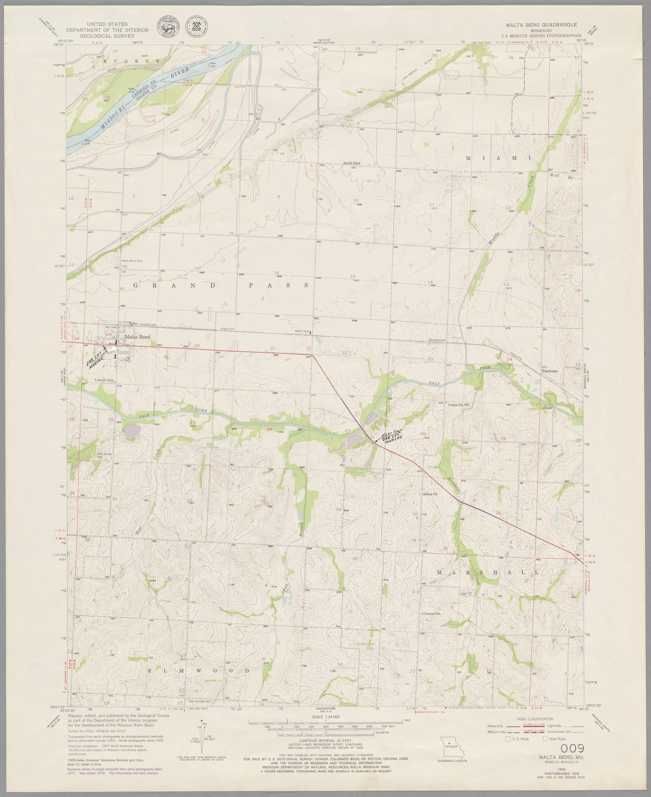Kroh Collection. Group 1: Santa Fe Trail - Map 009: Malta Bend quadrangle, showing the early (1820s-1840s) route of the Santa Fe Trail in Missouri