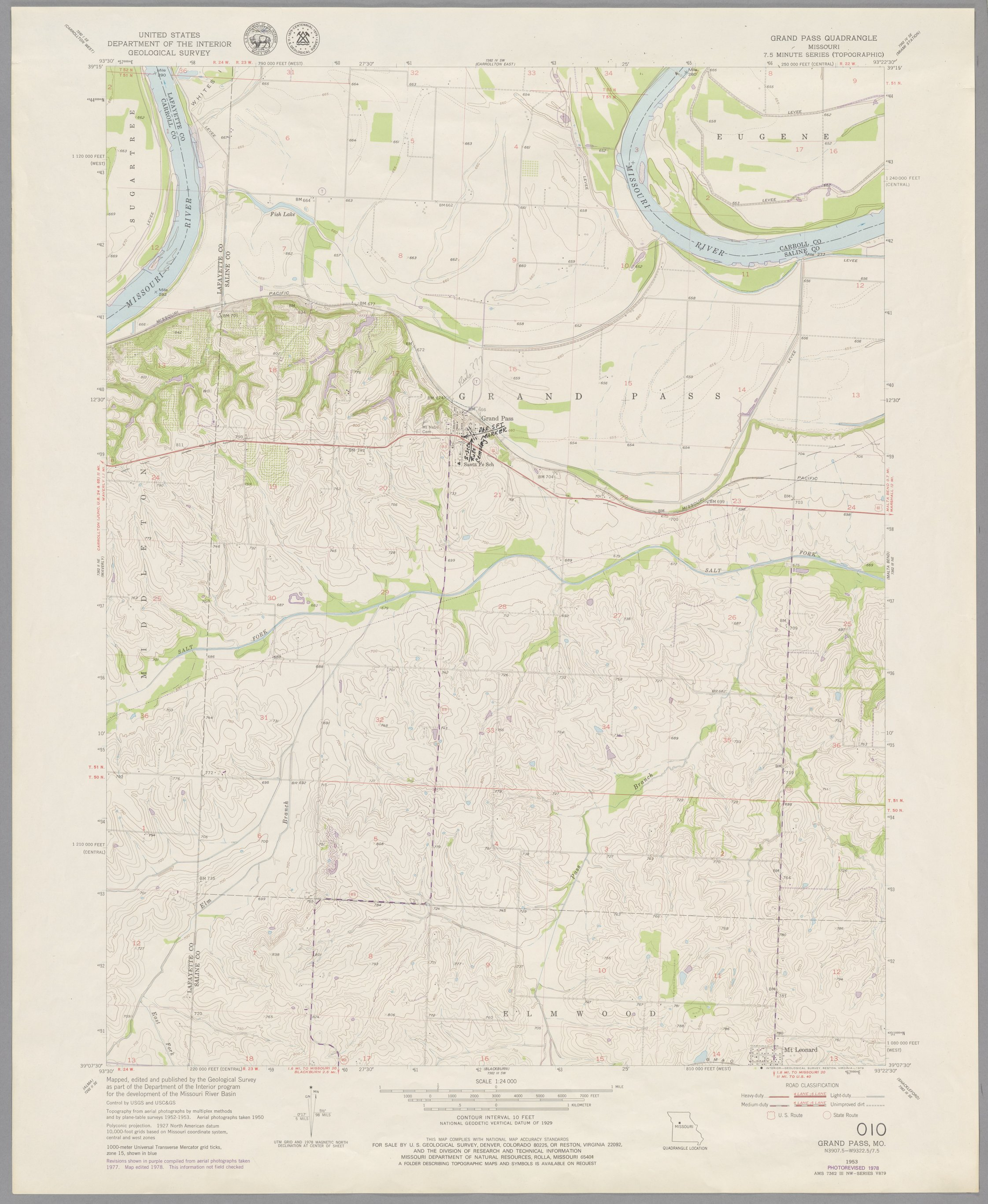 Kroh Collection. Group 1: Santa Fe Trail - Map 010: Grand Pass quadrangle, showing the early (1820s-1840s) route of the Santa Fe Trail in Missouri