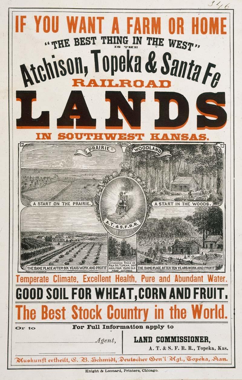 Atchison, Topeka & Santa Fe Railroad poster for lands in southwest Kansas