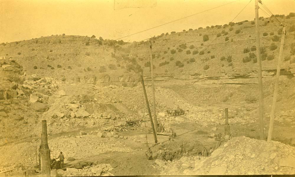 Atchison, Topeka & Santa Fe Railway Company construction, Abo Canyon, New Mexico