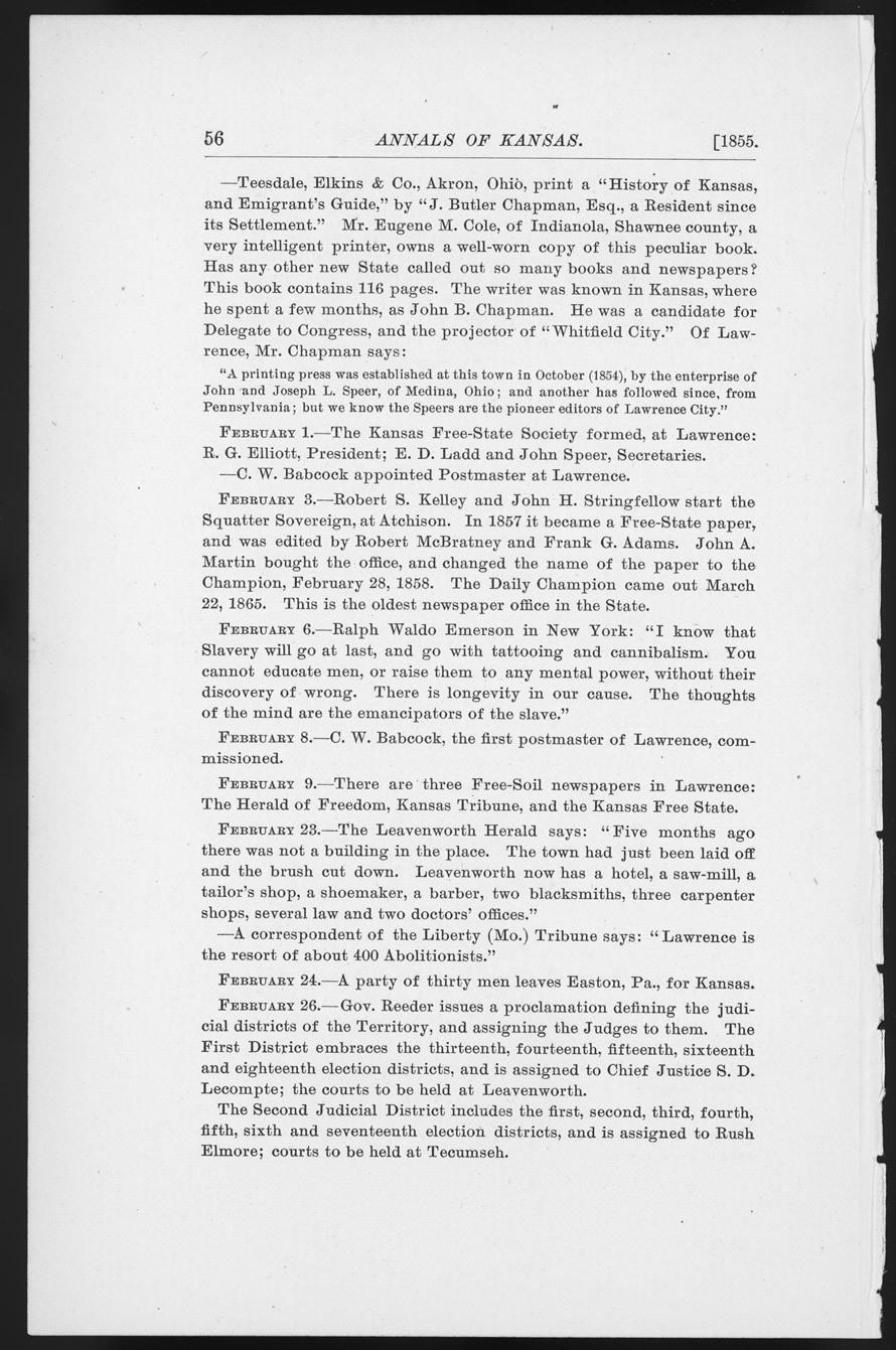 Annals of Kansas, January - February, 1855 - p. 56