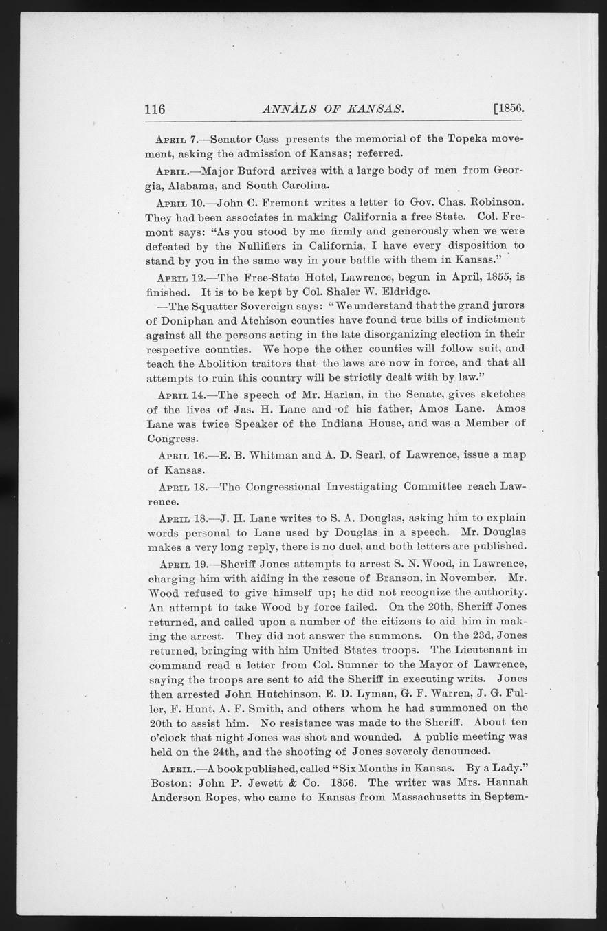 Annals of Kansas, April, 1856 - p. 116