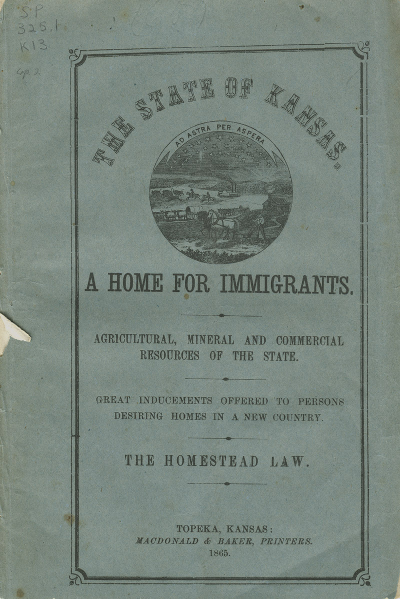 The state of Kansas: a home for immigrants - cover