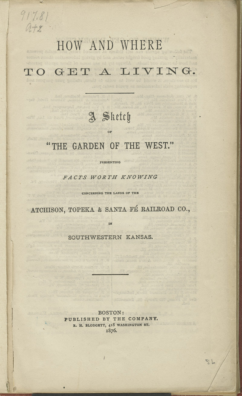 """How and where to get a living : a sketch of """"the garden of the West"""" - title pg."""