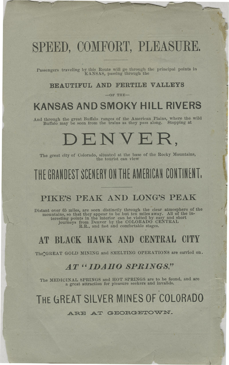 Emigrants' guide to the Kansas Pacific Railway lands : best and cheapest farming and grazing lands in America - inside front cover