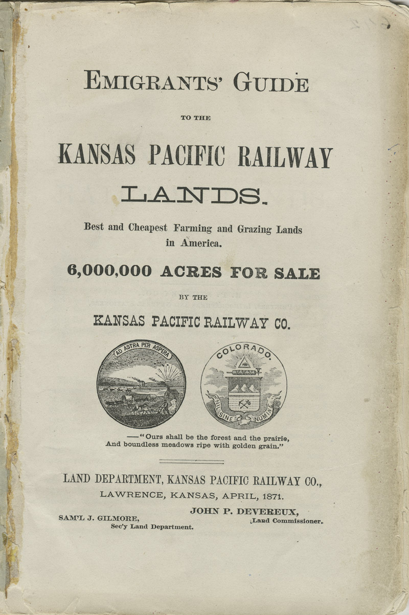 Emigrants' guide to the Kansas Pacific Railway lands : best and cheapest farming and grazing lands in America - pg. [1] title page