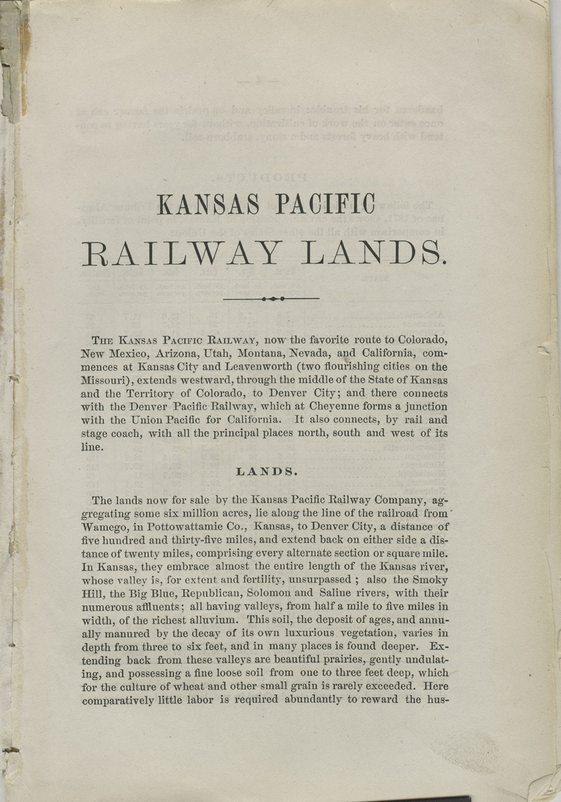 Emigrants' guide to the Kansas Pacific Railway lands : best and cheapest farming and grazing lands in America - pg. [3]