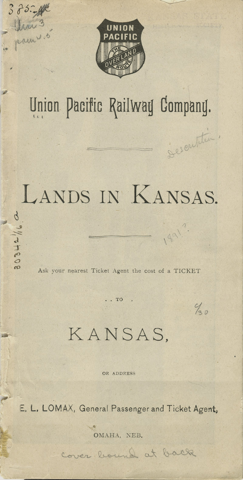 Lands in Kansas - pg. [1] title page