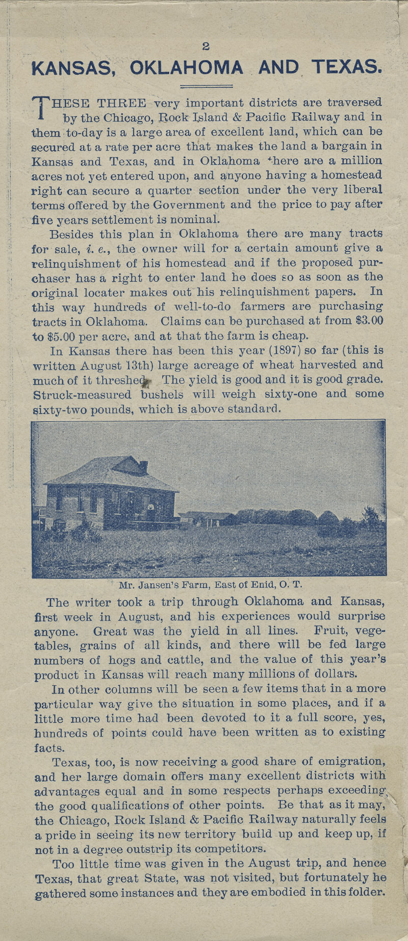 A farm out west.  Emigration folder of the great Rock Island route - pg. 2