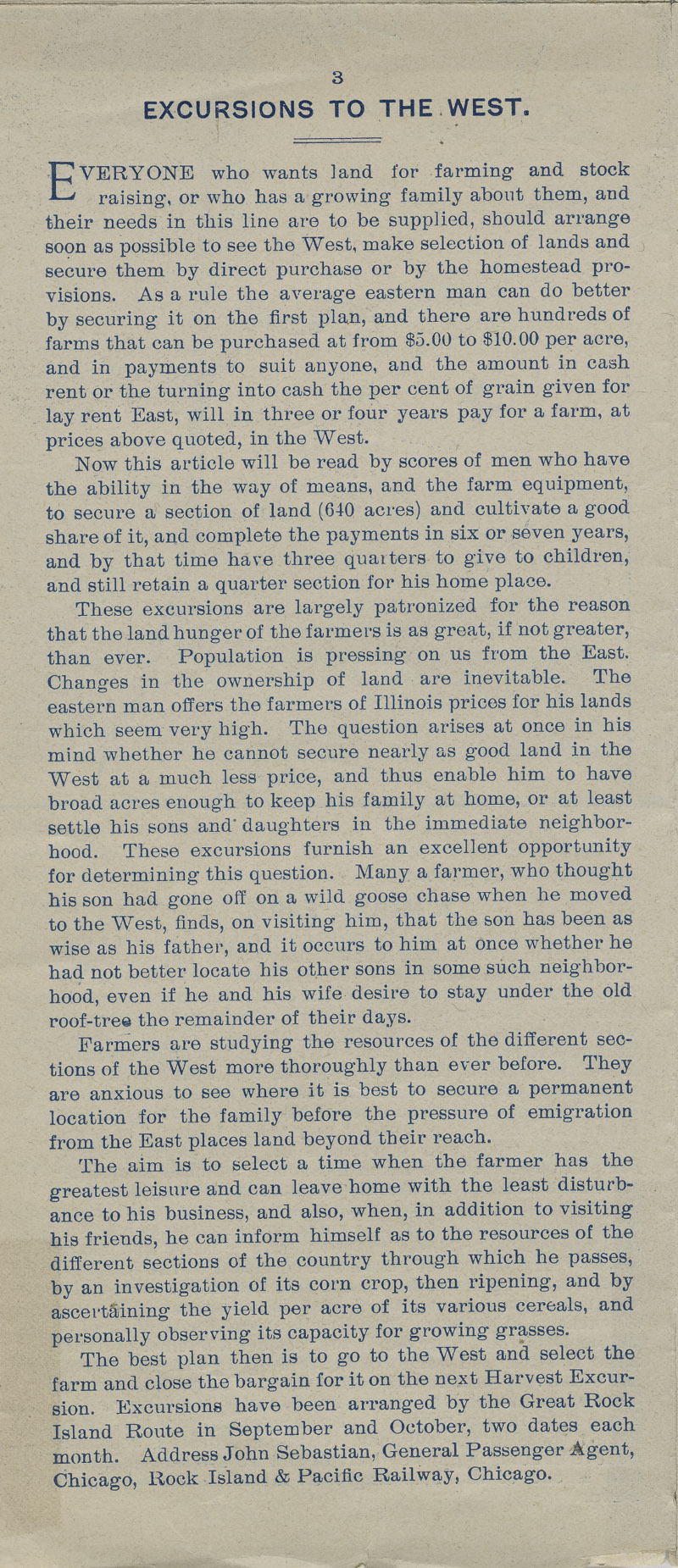 A farm out west.  Emigration folder of the great Rock Island route - pg. 3