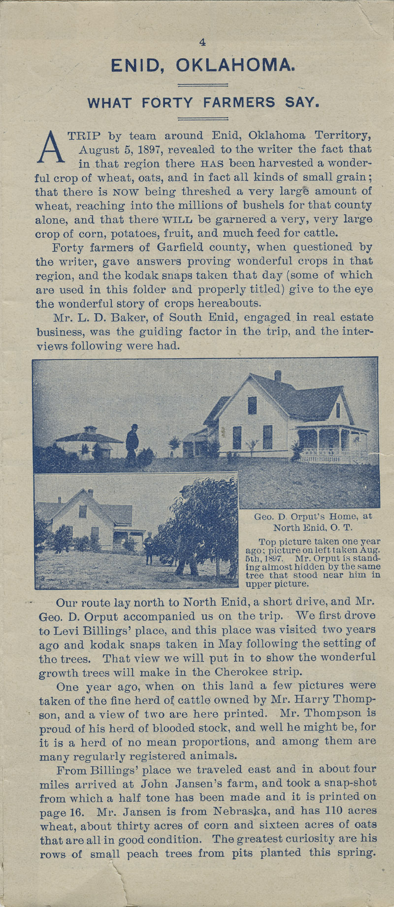 A farm out west.  Emigration folder of the great Rock Island route - pg. 4