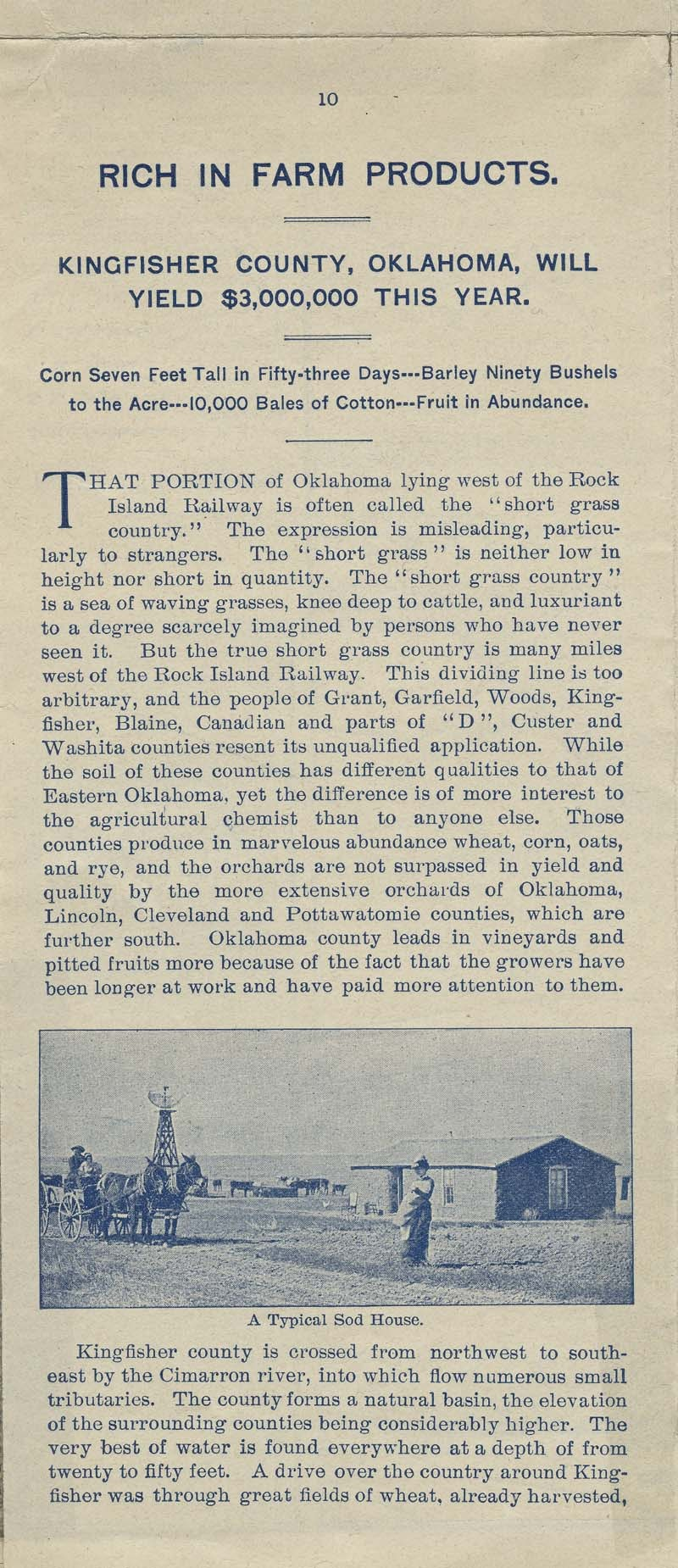 A farm out west.  Emigration folder of the great Rock Island route - pg. 10