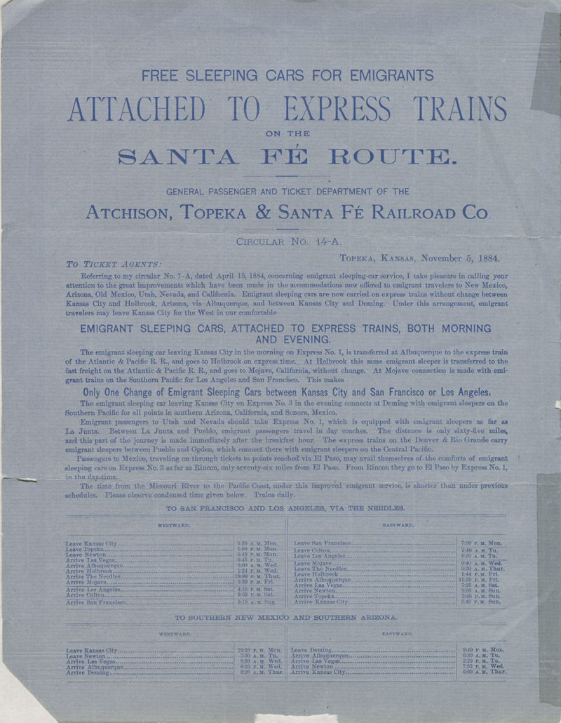 Free sleeping cars for emigrants carried on express trains, and leaving Kansas City both morning and evening on the Santa Fe route - pg. [2]