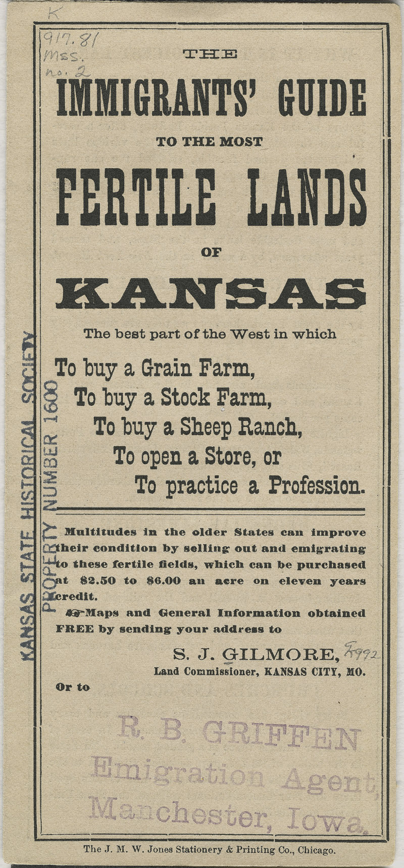 Immigrants' guide to the most fertile lands of Kansas - pg. [1] cover