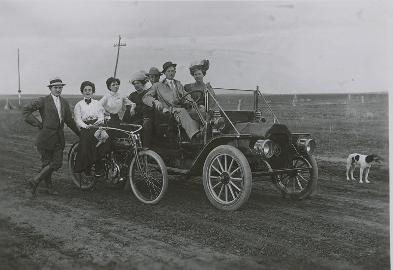 Adam and Fred Thielen and friends in an automobile, Dorrance, Kansas