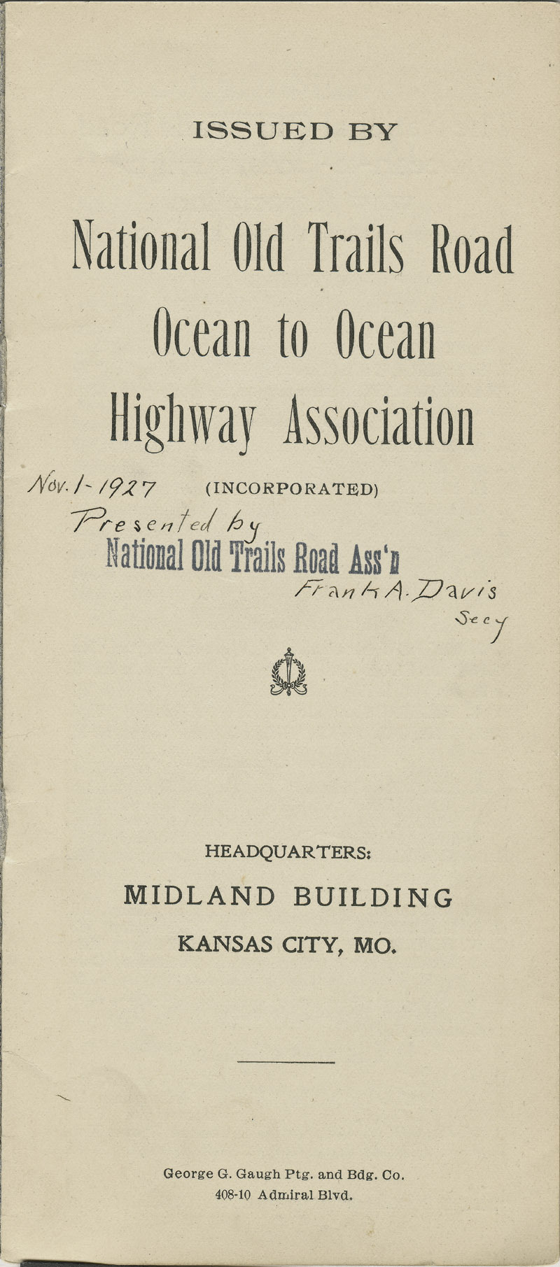 National Old Trails Road project : arguments for its construction and maintenance by the United States government - pg. [1] title page
