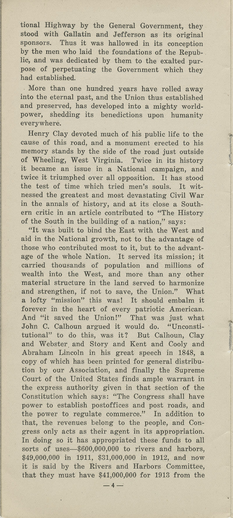 National Old Trails Road project : arguments for its construction and maintenance by the United States government - pg. 4