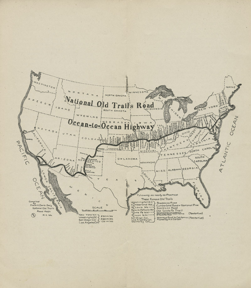 National Old Trails Road project : arguments for its construction and maintenance by the United States government - pg. [8&9] map