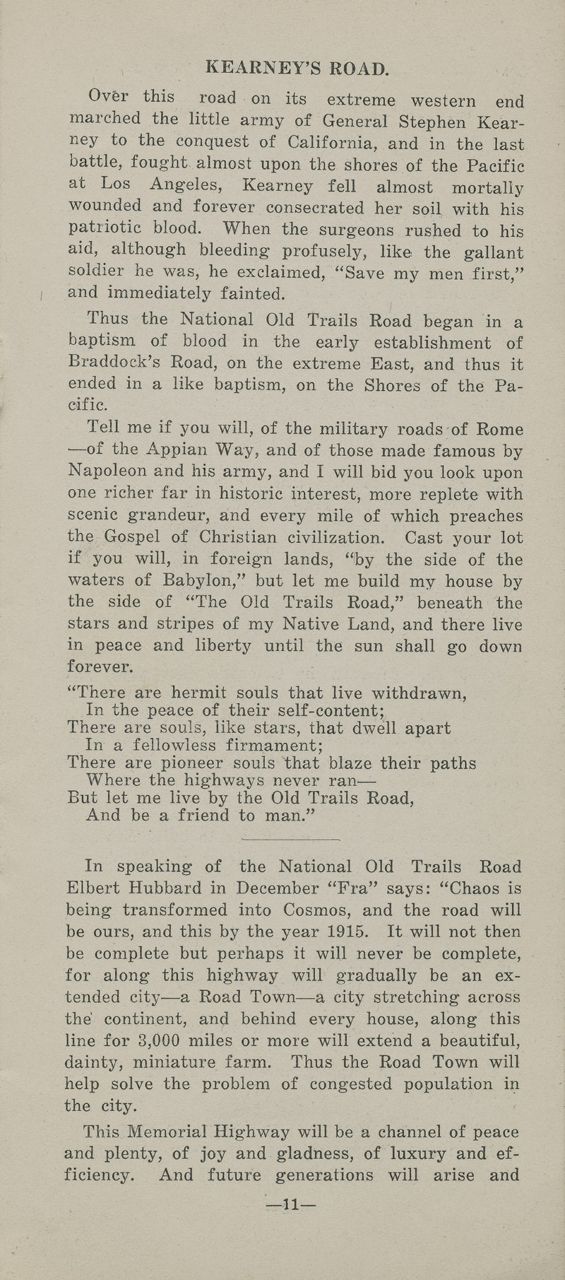 National Old Trails Road project : arguments for its construction and maintenance by the United States government - pg. 11