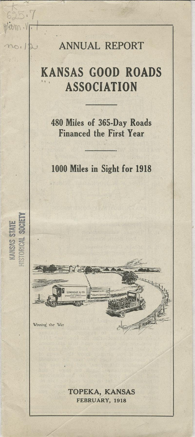 Annual report : Kansas Good Roads Association - pg. [1] cover
