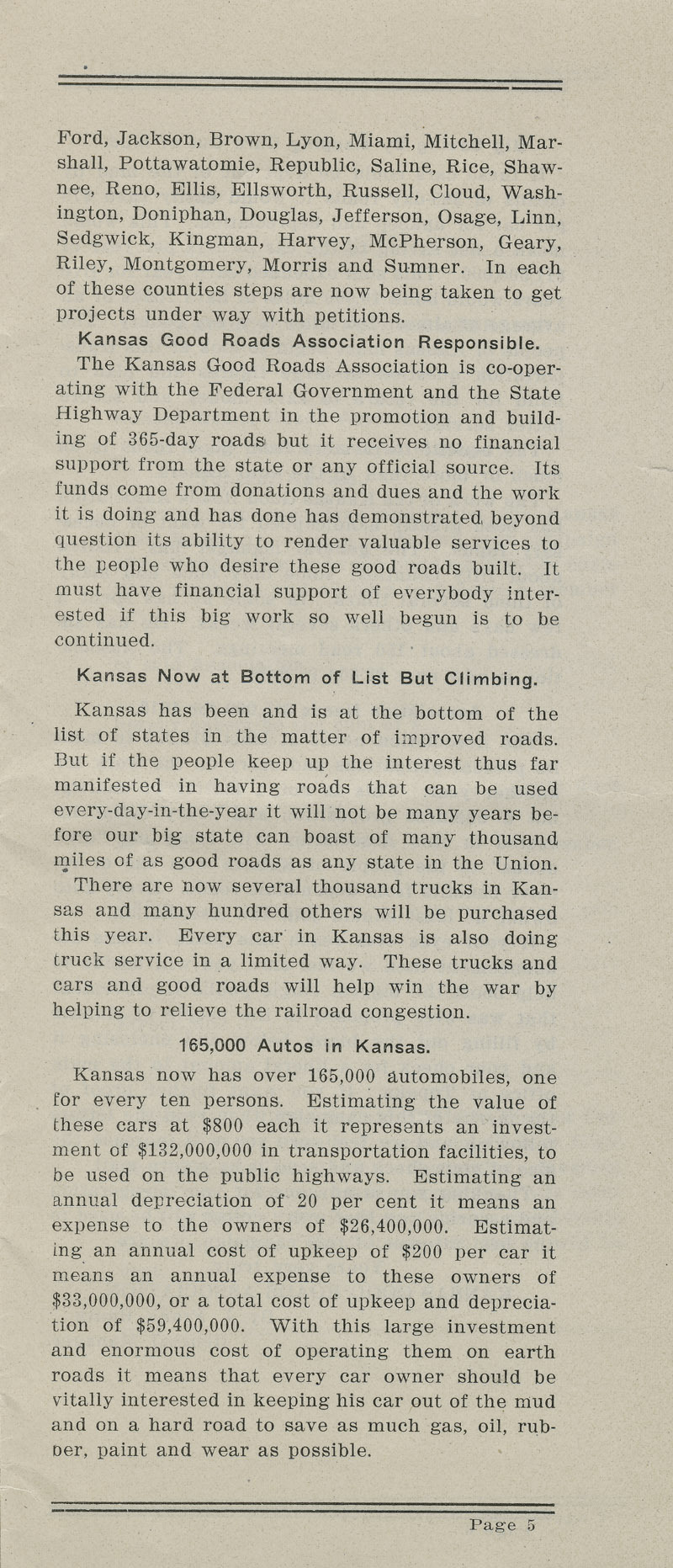 Annual report : Kansas Good Roads Association - pg. 5