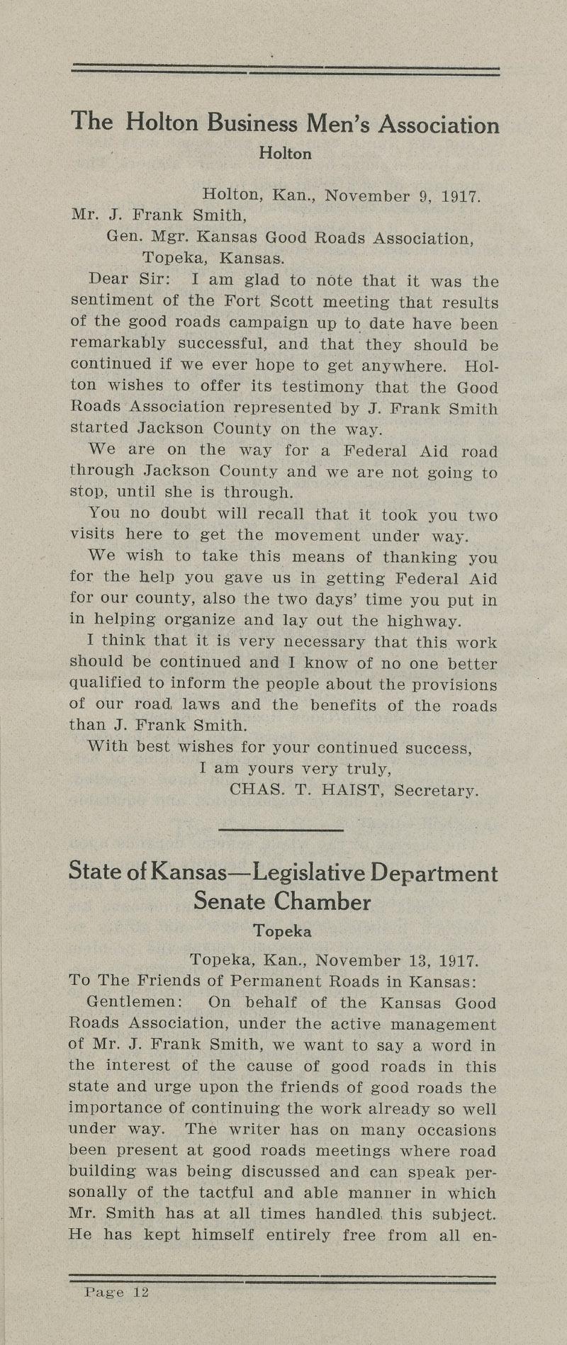 Annual report : Kansas Good Roads Association - pg. 12