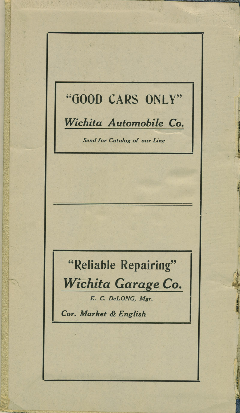 Automobile Club of Wichita Year Book - inside cover