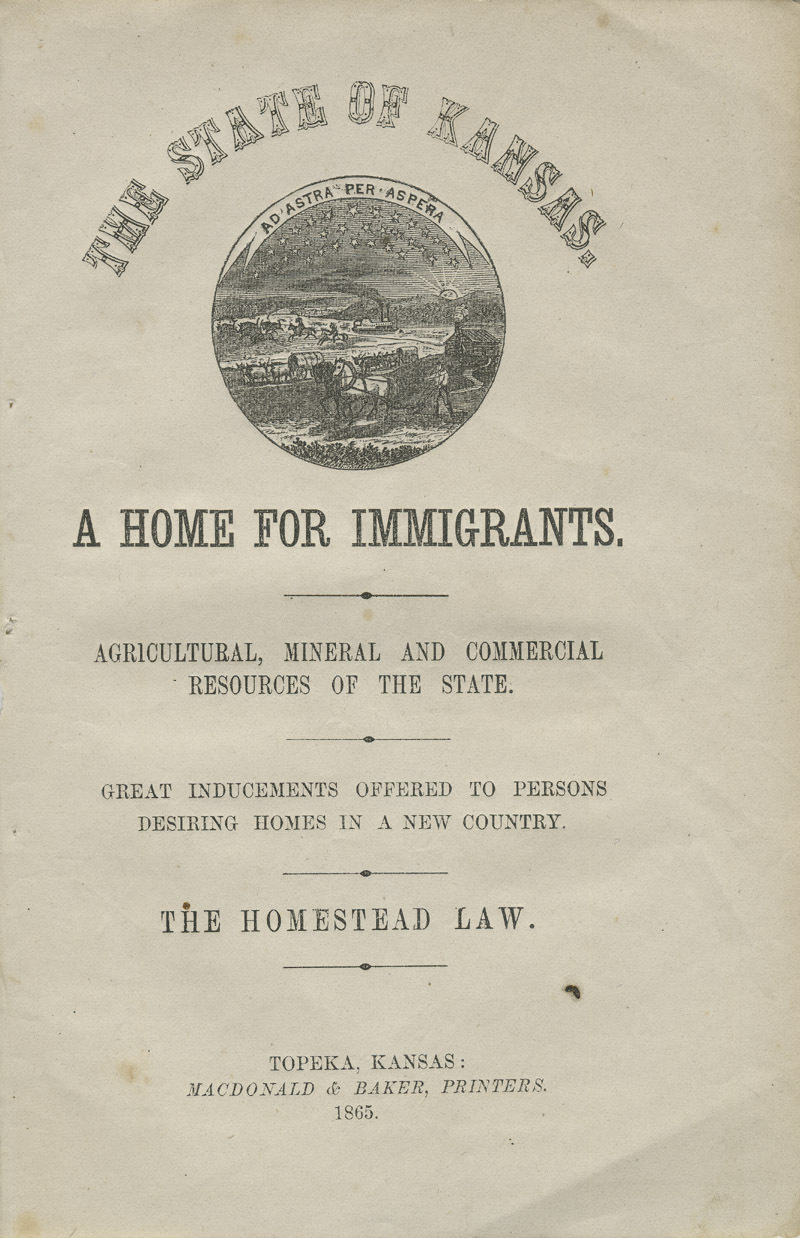 The state of Kansas: a home for immigrants - Title page