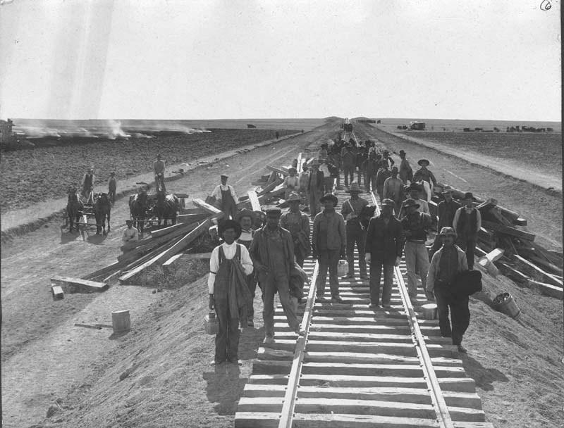 Santa Fe railroad crew in Haskell County, Kansas