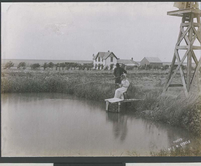 Fishing in a farm pond