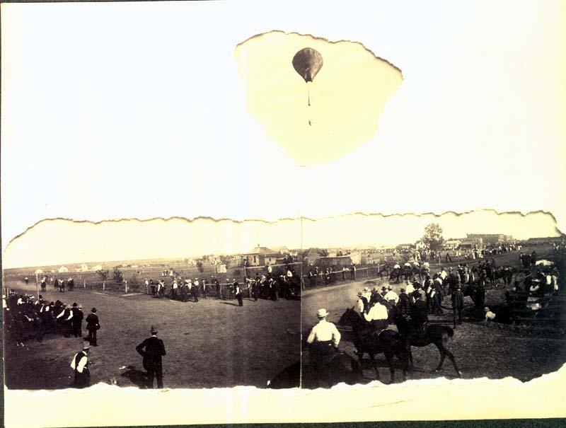 Horse race and balloon ascension at a fair in Ashland, Kansas