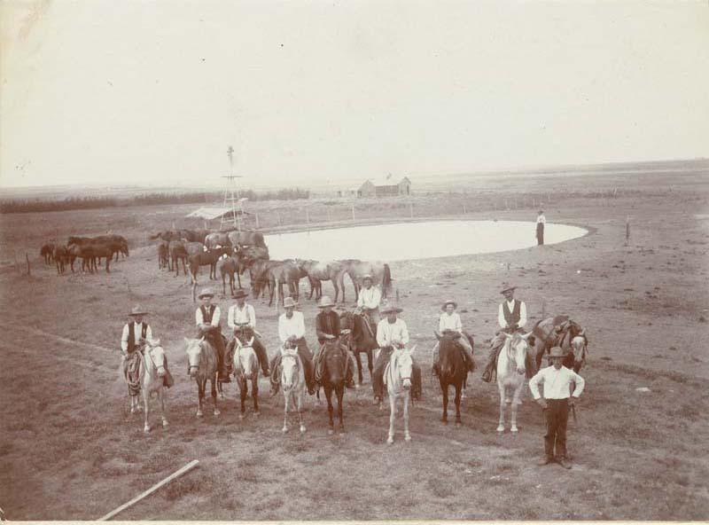 C. E. Doyle and cowboys on the Doyle ranch near Englewood, Kansas